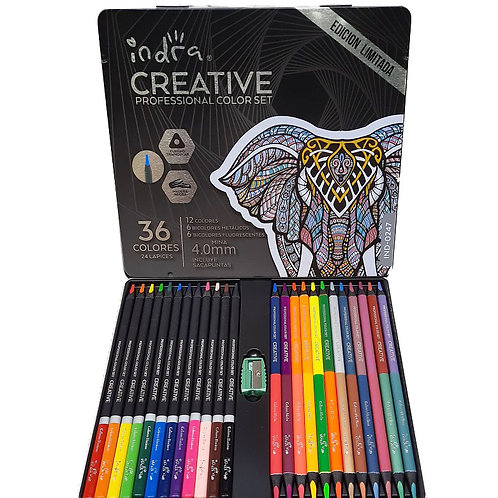 Colores Profesionales 24 Lapices Indra Creative 36 Tonos