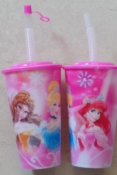Vaso lenticular con tapa y popote Princesas Disney