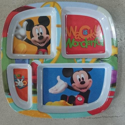 Plato Melamina Mickey Mouse con divisiones