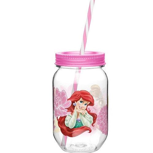 Vaso mason jar de Princesas Disney