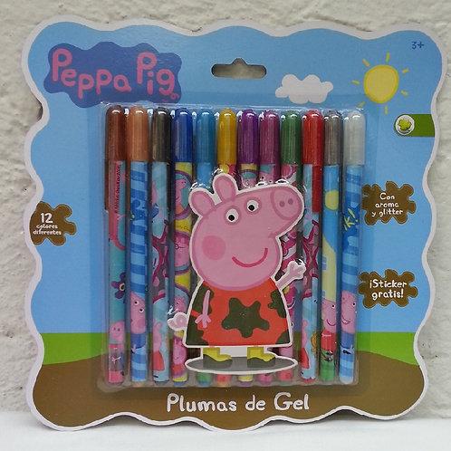 Plumas de Gel decoradas Peppa Pig