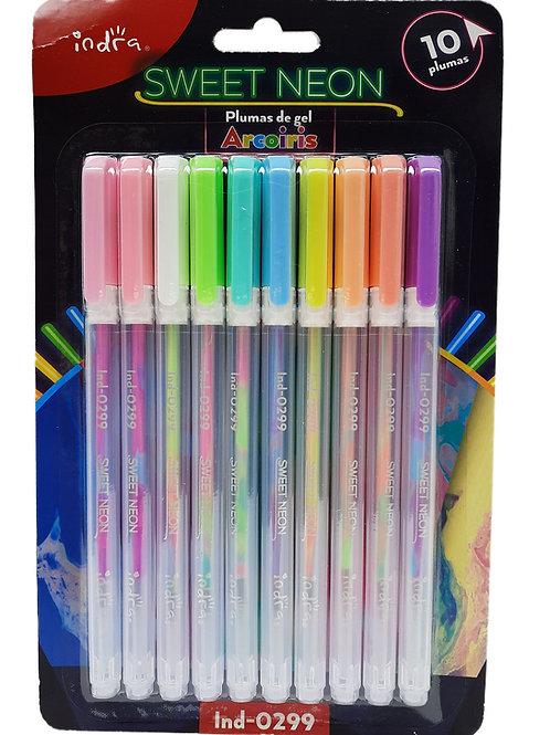 10 Plumas De Gel Arcoiris Indra Sweet Neon Color Cambiante