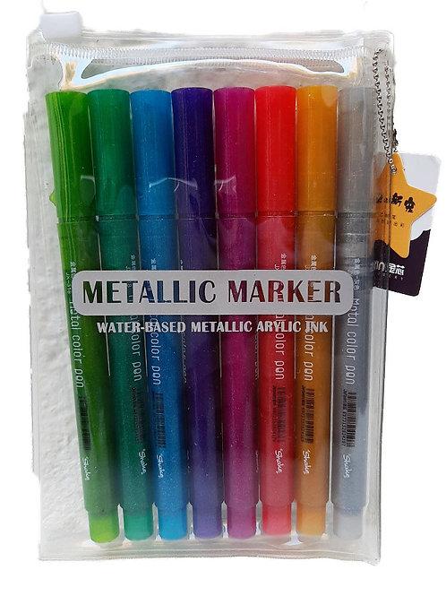 8 plumones metálicos 8 mettalic markers