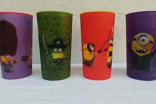 4 Vasos lenticular efecto 3D minions