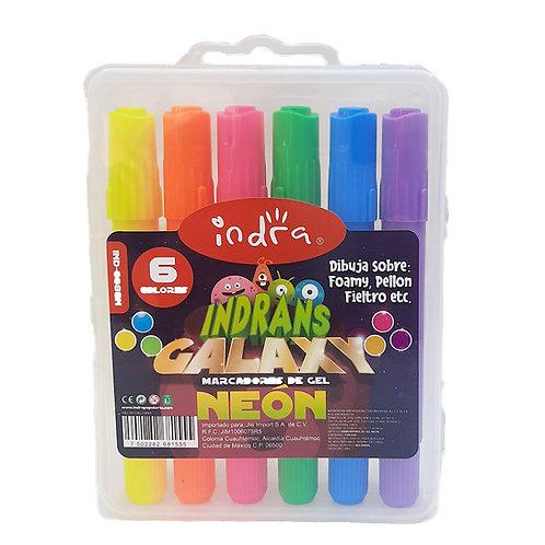 6 Marcatextos de Gel Indran galaxy colores Neon