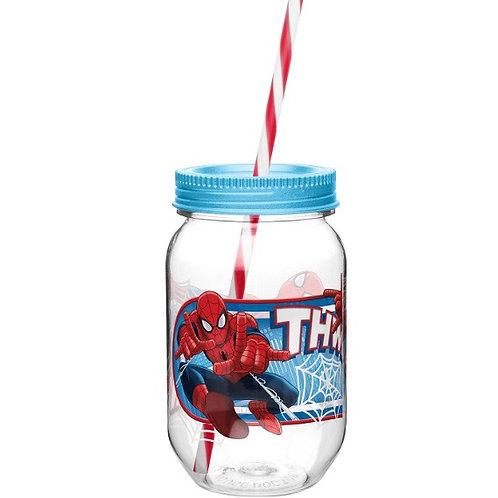 Vaso mason jar de Spiderman
