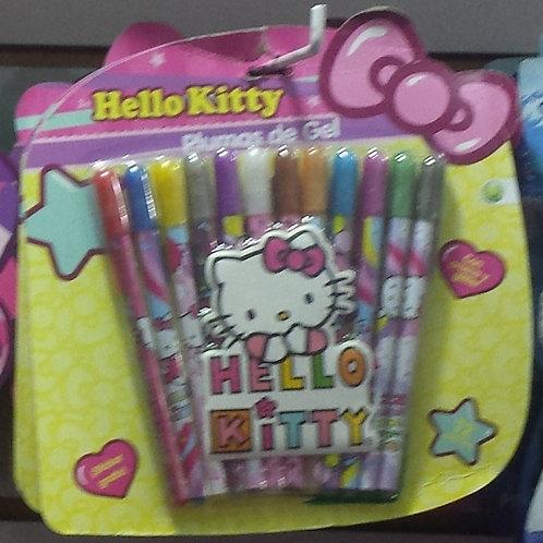 Plumas de Gel decoradas Hello Kitty