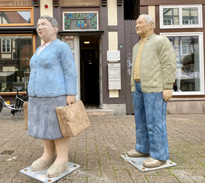 Betonfiguren Alltagsmenschen - Einkaufspaar