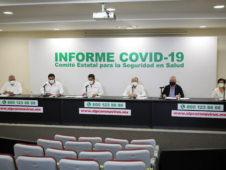SLP registra 992 contagios y 13 defunciones por Covid-19.