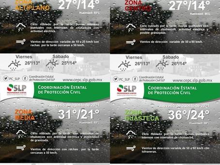 Lluvias en SLP continuarán durante el fin de semana