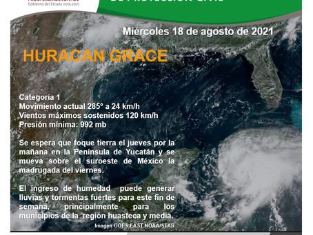 Huracán Grace provocará lluvias en la Huasteca y Zona Media.