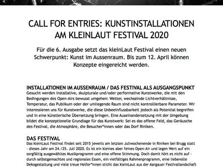 CALL FOR ENTRIES: KUNSTINSTALLATIONEN AM KLEINLAUT FESTIVAL 2020