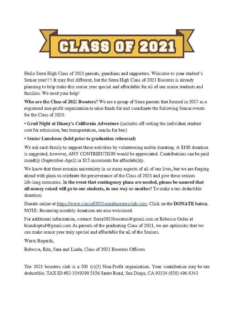 Serra High Class of 2021 Boosters Club_F