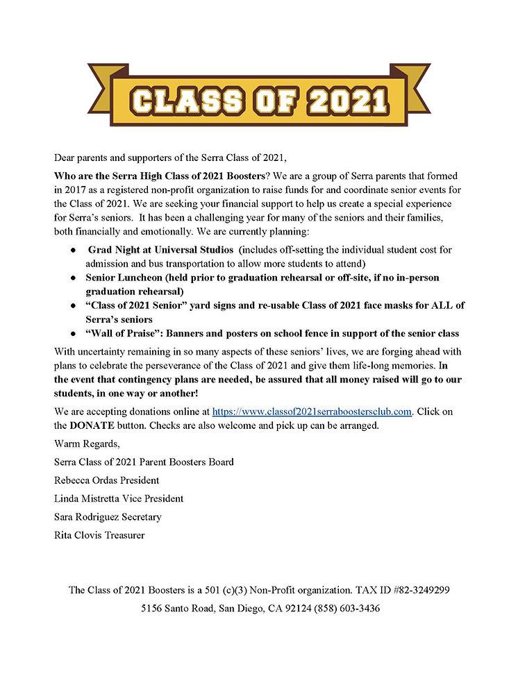 Serra High Class of 2021 Boosters Club P