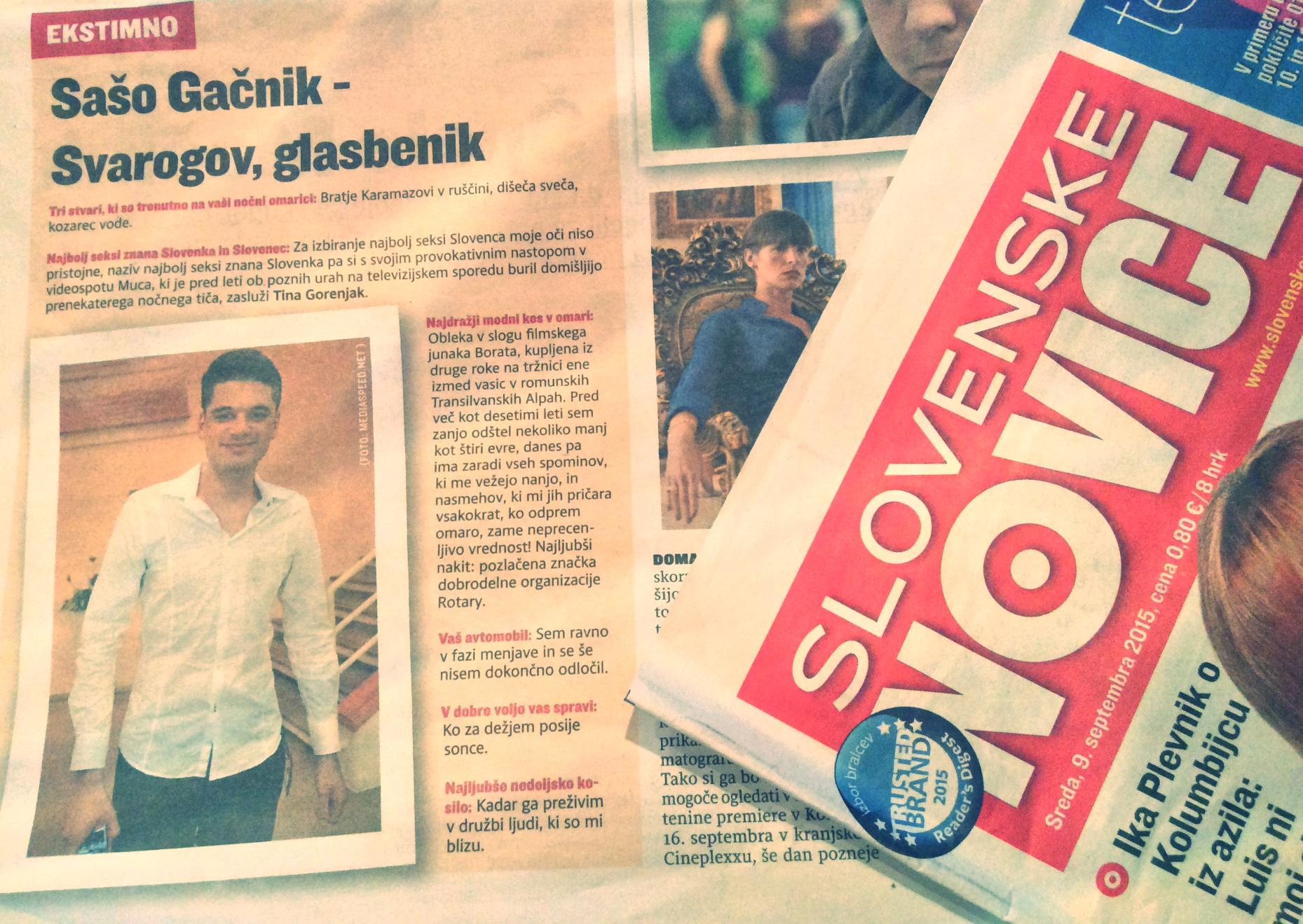 Slovenske Novice - Bulvar (9.9.2015)