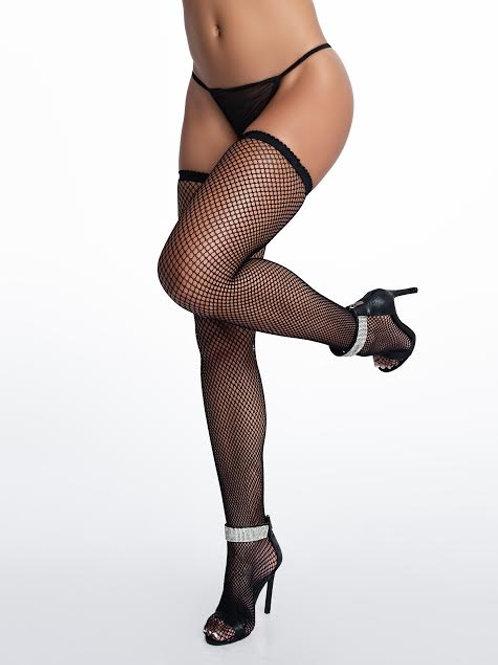 Black fishnet thigh-high stockings.