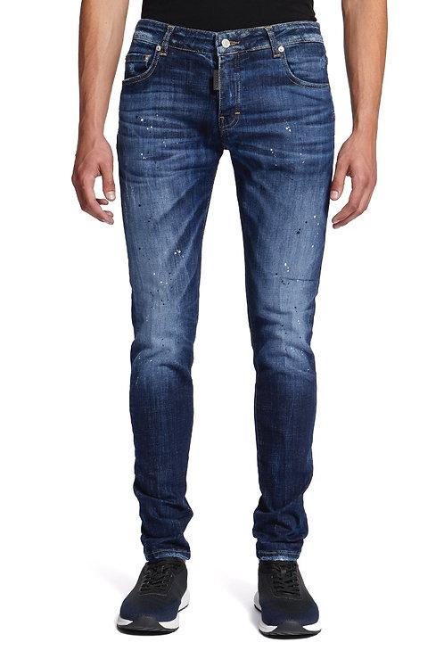 Jeans bleu tacheté noir/blanc