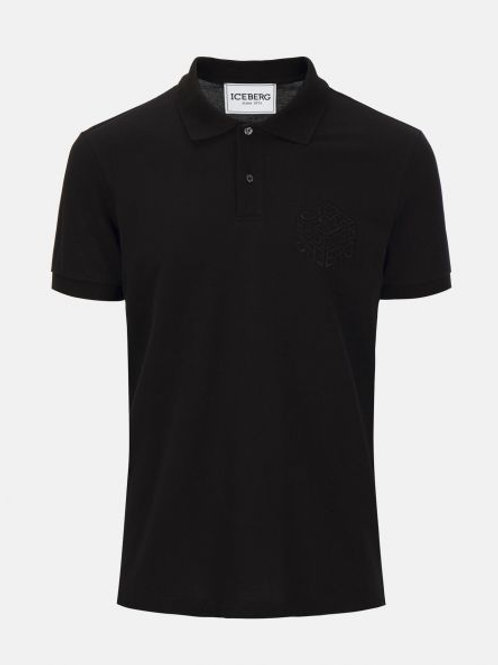 T-shirt à col polo noir avec le logo cube Iceberg