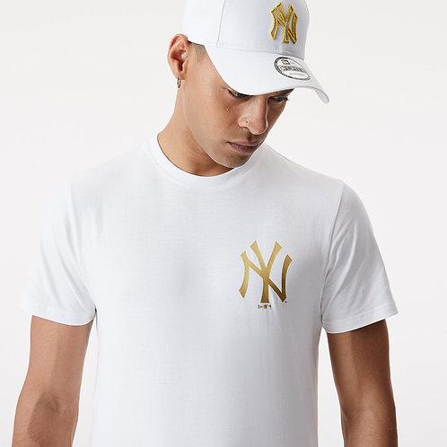 T-shirt NY blanc métallique