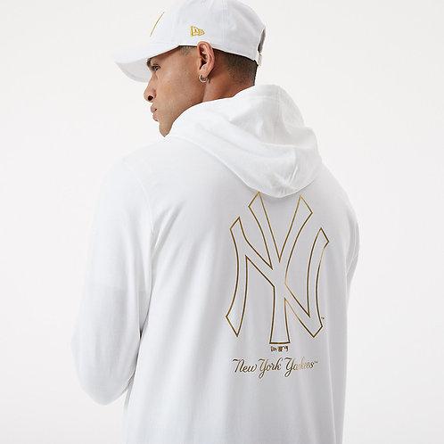 Sweat à capuche NY blanc métallique