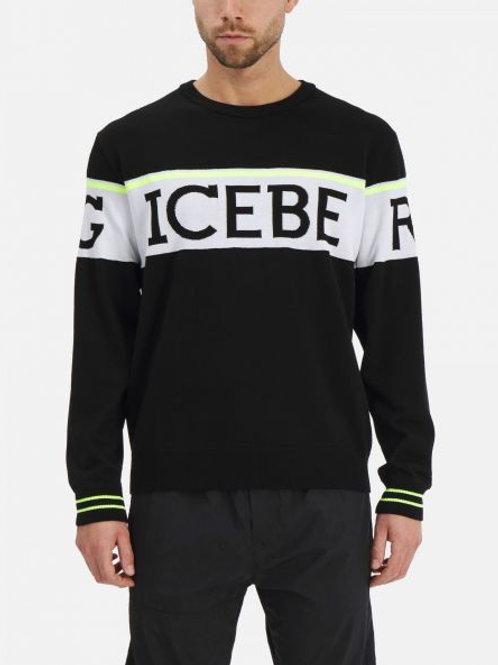 Pull Iceberg fluo et noir à logo slash