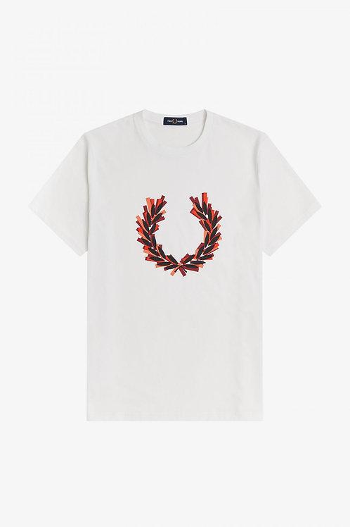 T-shirt avec couronne de laurier effet raté d'impression