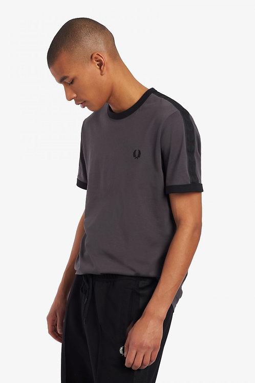 T-shirt à bordures contrastantes et bande ton sur ton