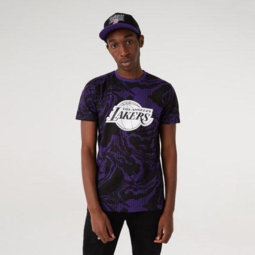 T-shirt violet imprimé pétrole LA Lakers
