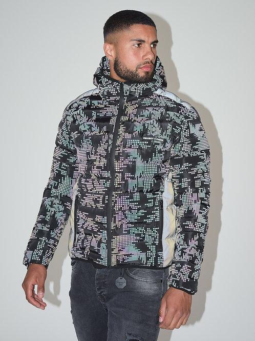 Veste réfléchissante matelassé imprimé camouflage pixel