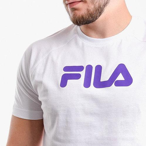 T-shirt blanc écriture violette
