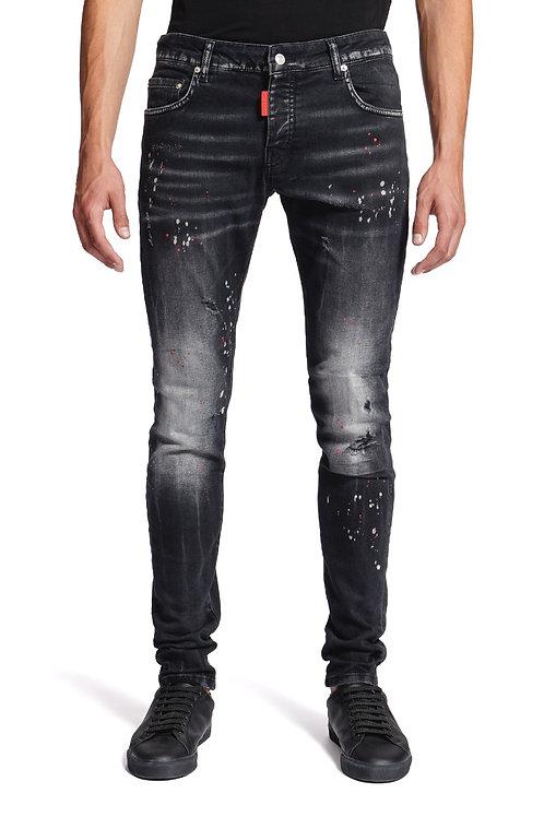 Jeans noir à pois rouges