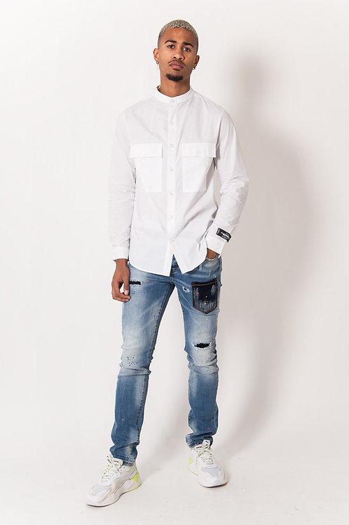 Chemise mao blanc