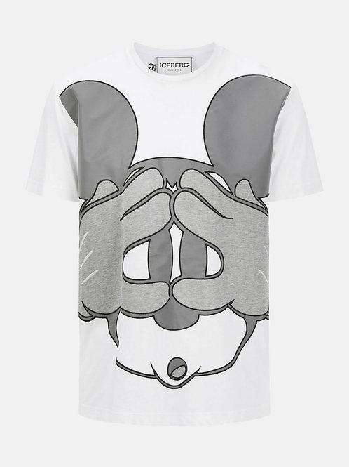 T-shirt Iceberg blanc avec grand graphique Mickey Mouse