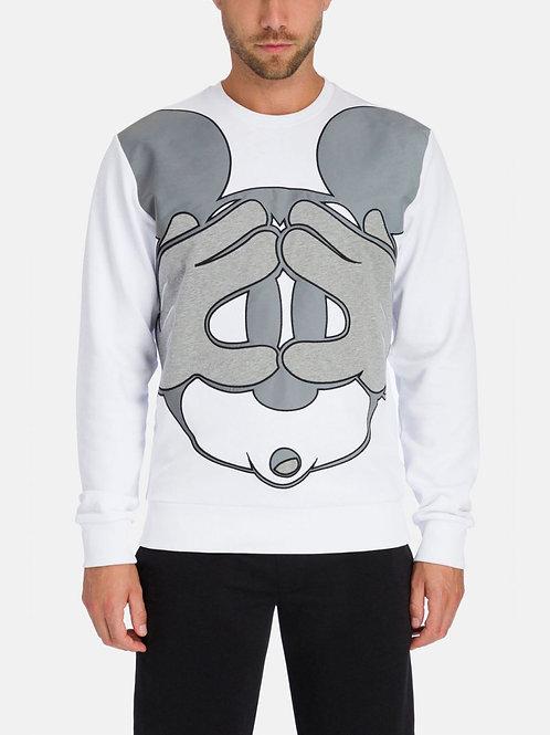 Sweat blanc Iceberg avec Mickey Mouse gris réfléchissant