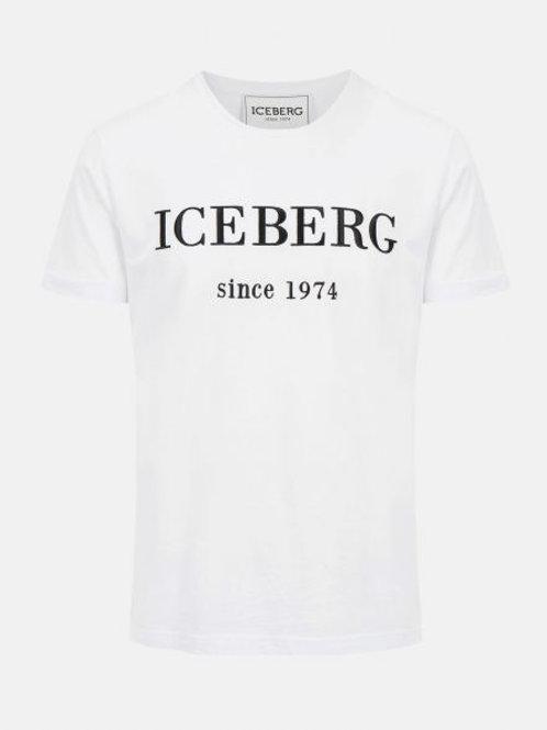 T-shirt blanc avec logo Iceberg noir