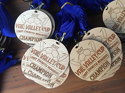Custom engraved championship medals.