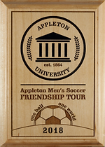 Custom-designed plaque for socce tournament.