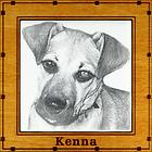 Engraved photo tile memorializing favorite pet.