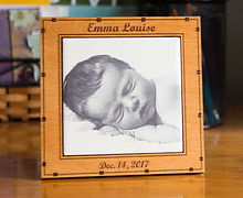 Engraved photo tile celebrating birth of a baby.