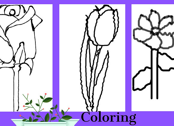 Three flowers coloring book