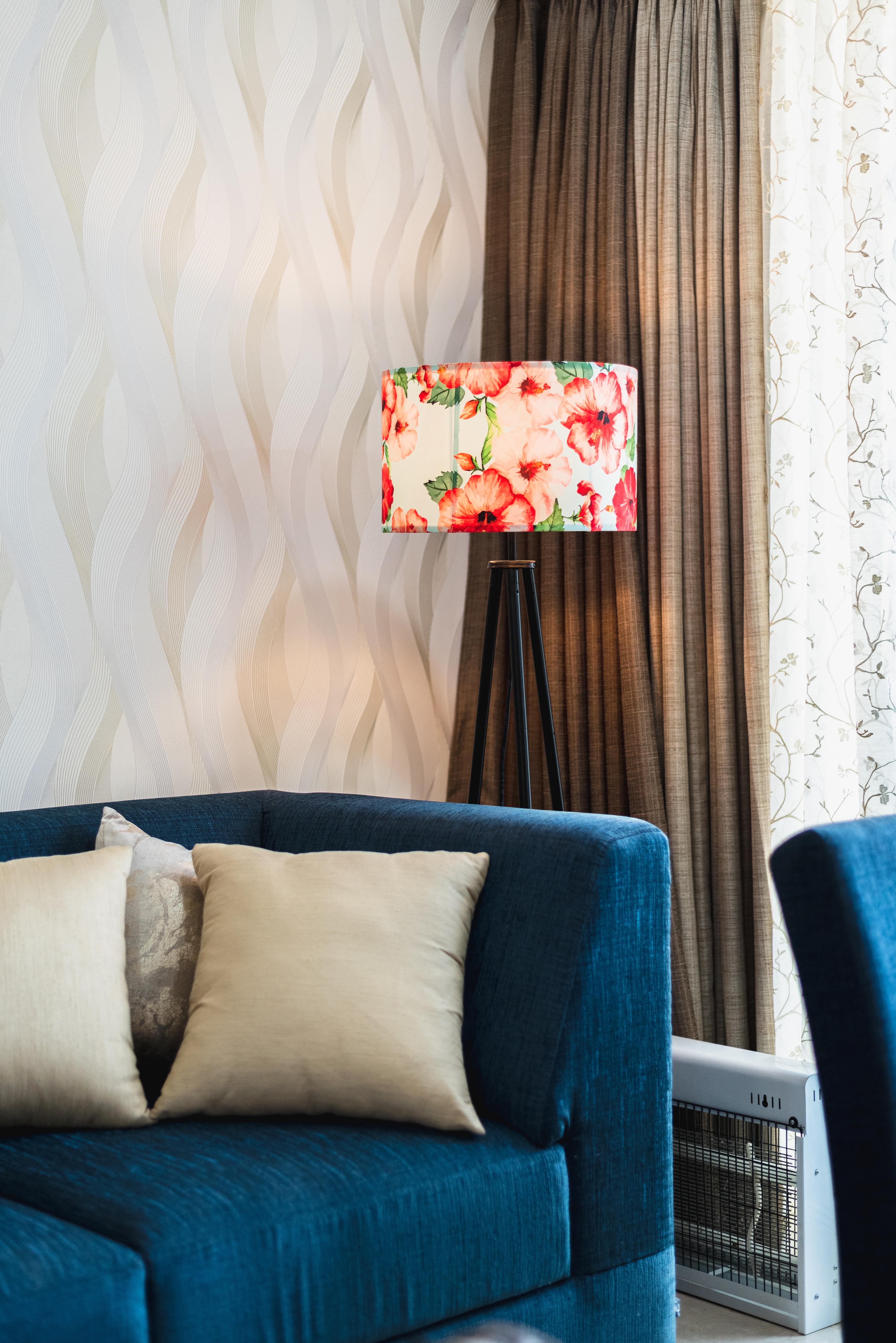 Floral Print Floor Lamp