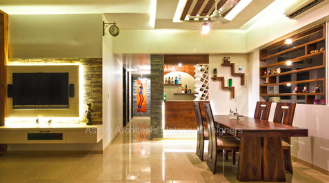 Classic Wood and Stone Theme 3BHK