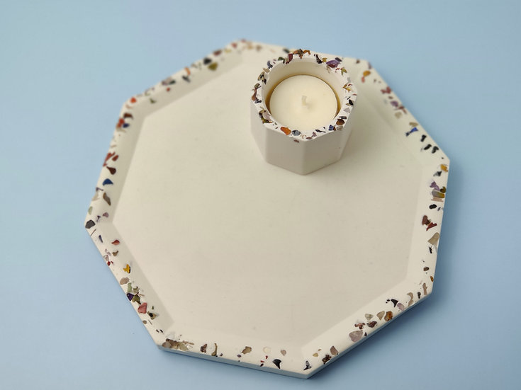 White Jesmonite Hexgon Tray + Tealight Holder - Gemstones
