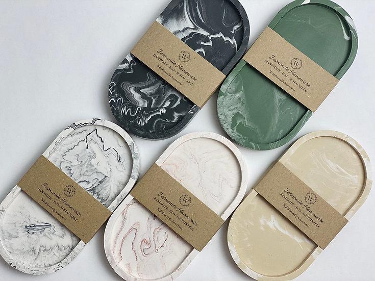 Jesmonite Oval Tray | Classic Marble