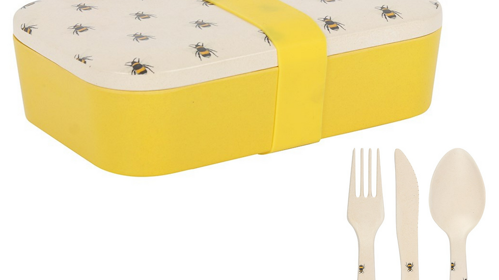 Bee lunch box and cutlery set - Organic Bamboo