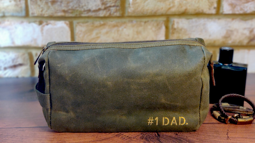 Waxed Canvas Wash Bag for Dad - Large