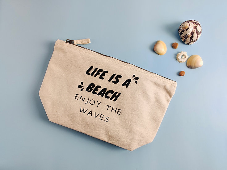 'Life is a Beach' Canvas Pouch