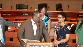 Commissioner Marvin Arrington congratulates Chief Judge Gail Tusan upon her retirement