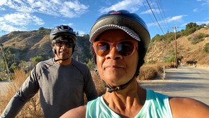 Gail enjoying a foothill biking adventure with her brother