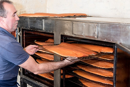 Marrbury Whisky oak smoked salmon UNSLICED Side Split in two